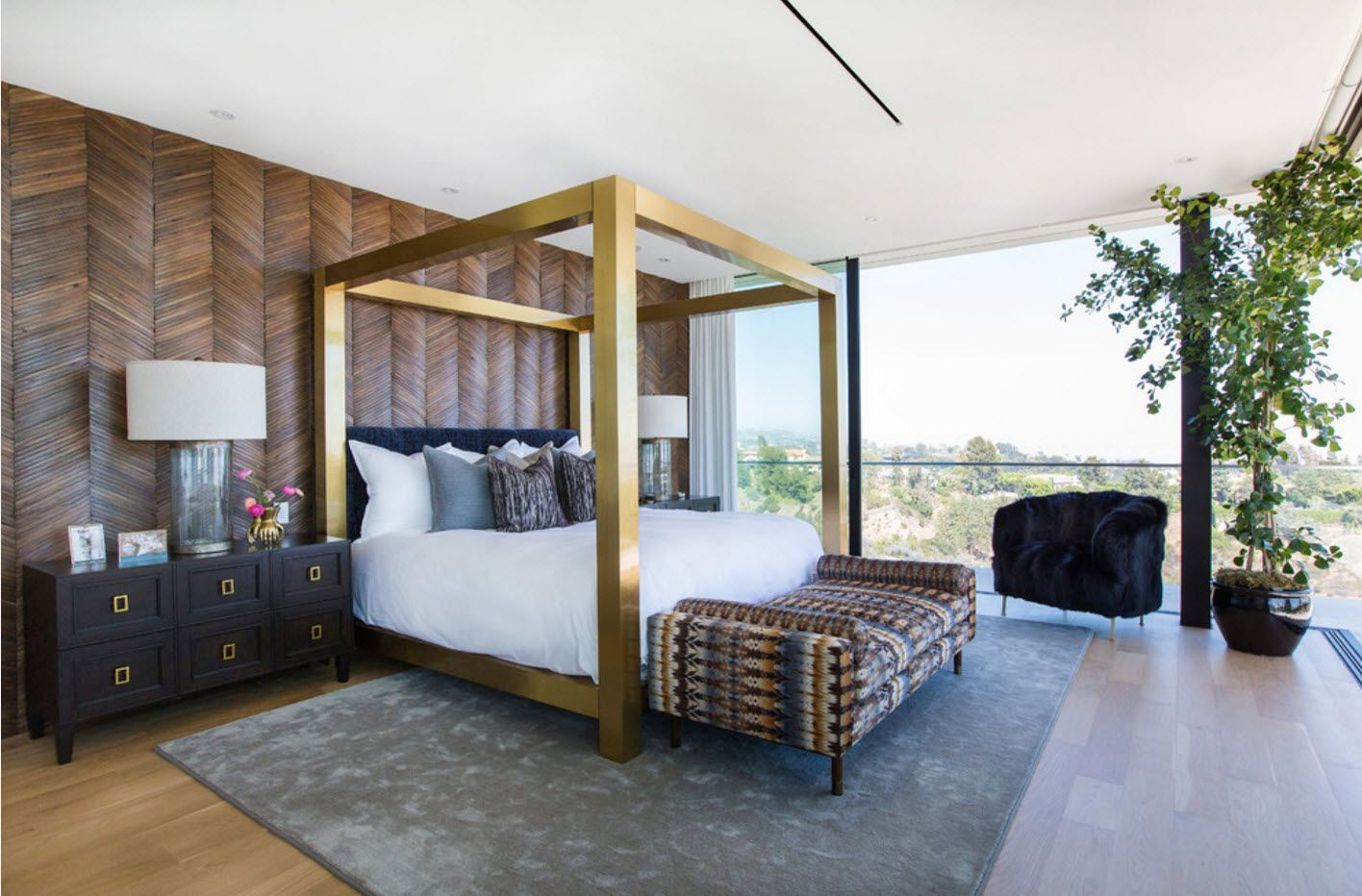 Solid massive frame of bed's canopy in contemporary style