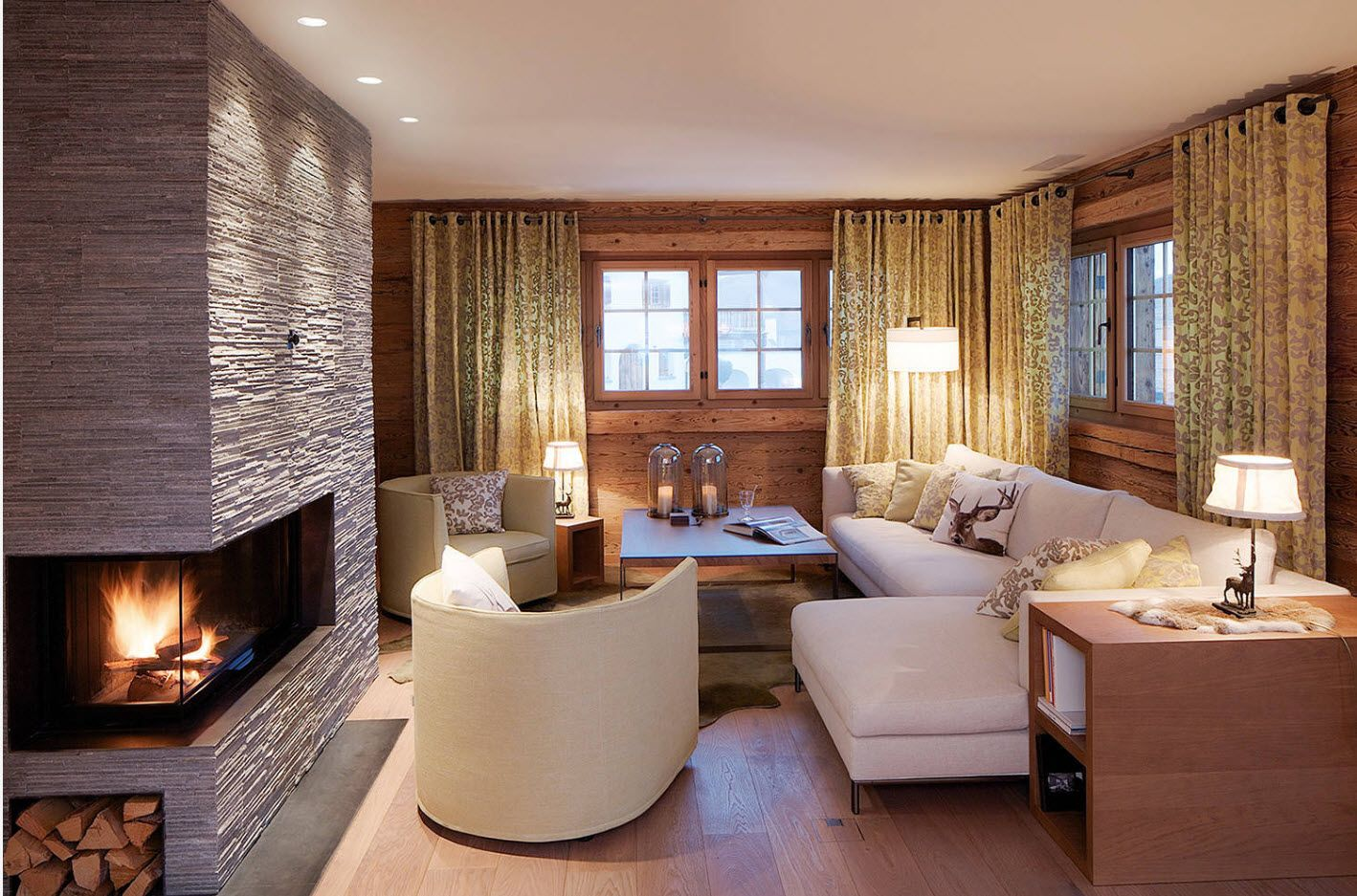 Wooden wall and latticed windows at the warm homey living room with fireplace