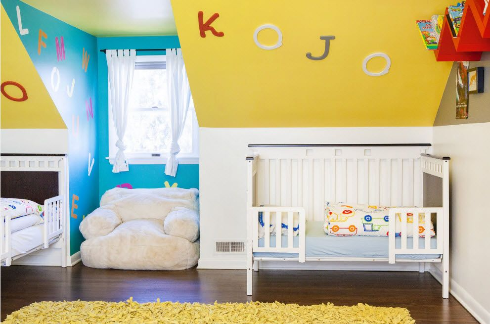 Yellow ceiling slant is a nice design idea for children's room