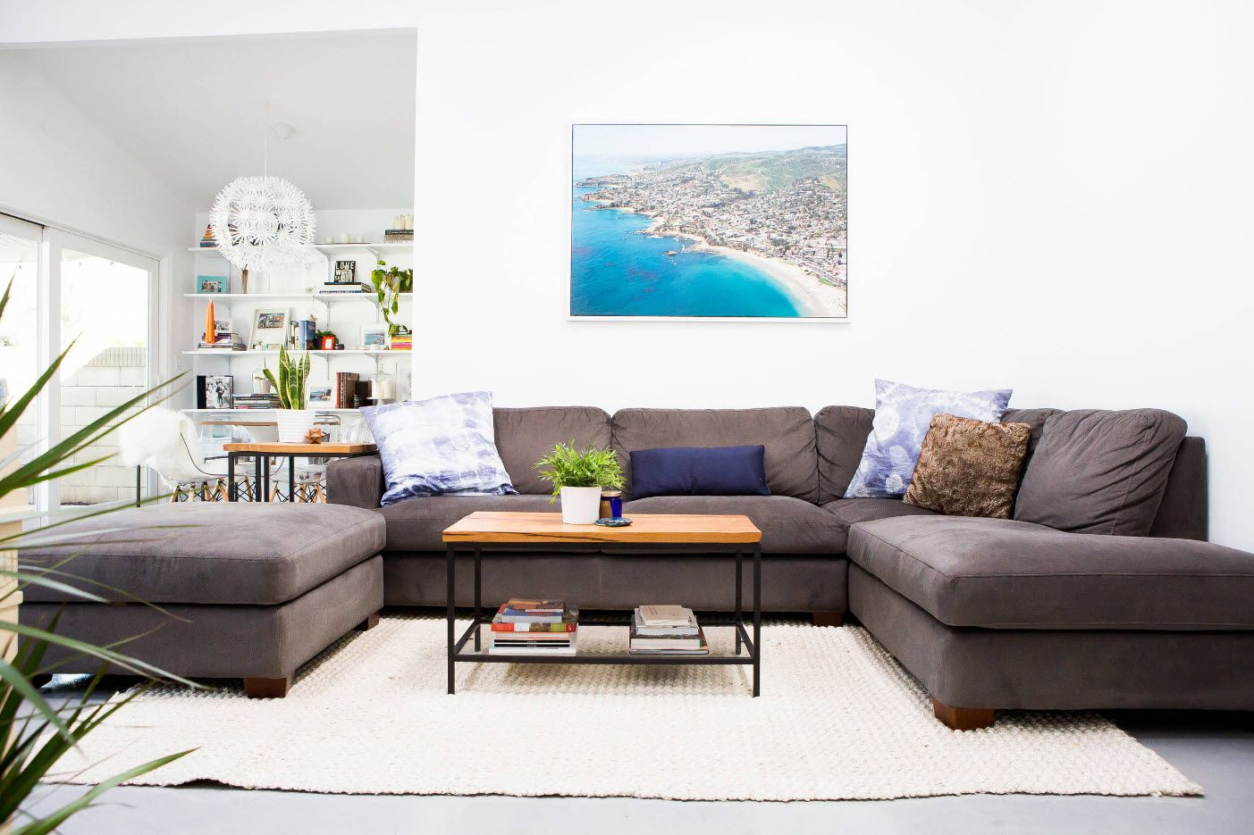 Sea landscape at the picture in modern living room