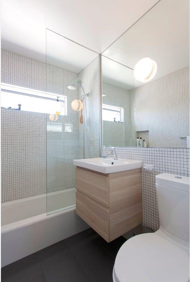 Gray bathroom with natural facades
