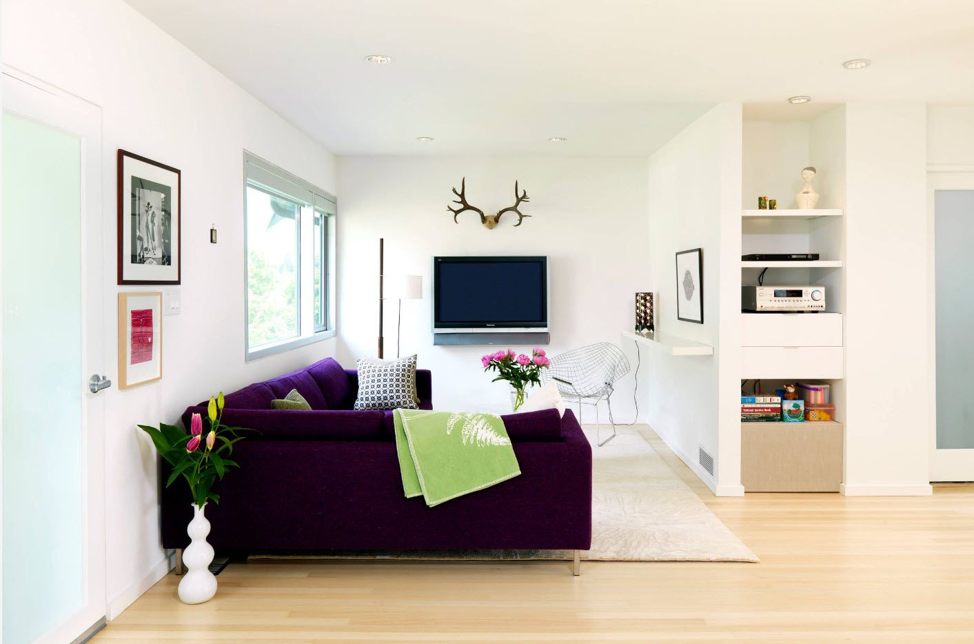 Nice white interior with antlers above the TV-panel