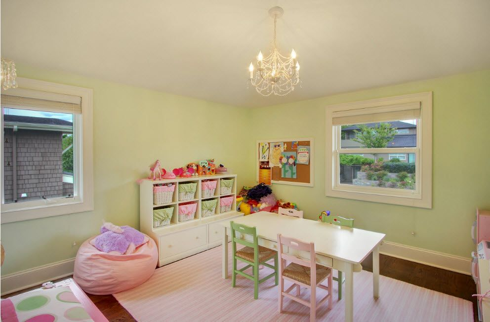 Neat pale green color palette for wall decoration in the kids' room