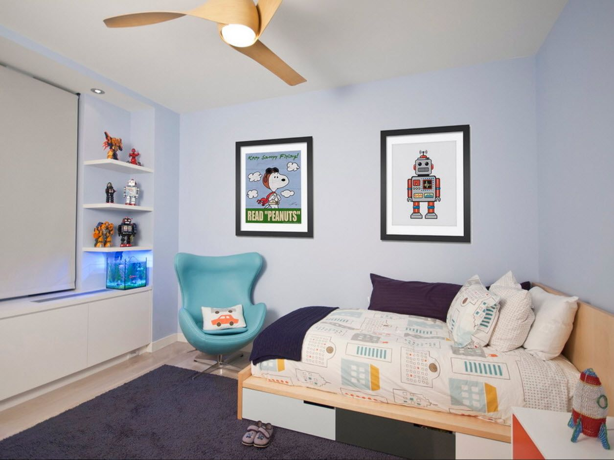 Turquoise neat interior chair in the cartoon decorated kids' room