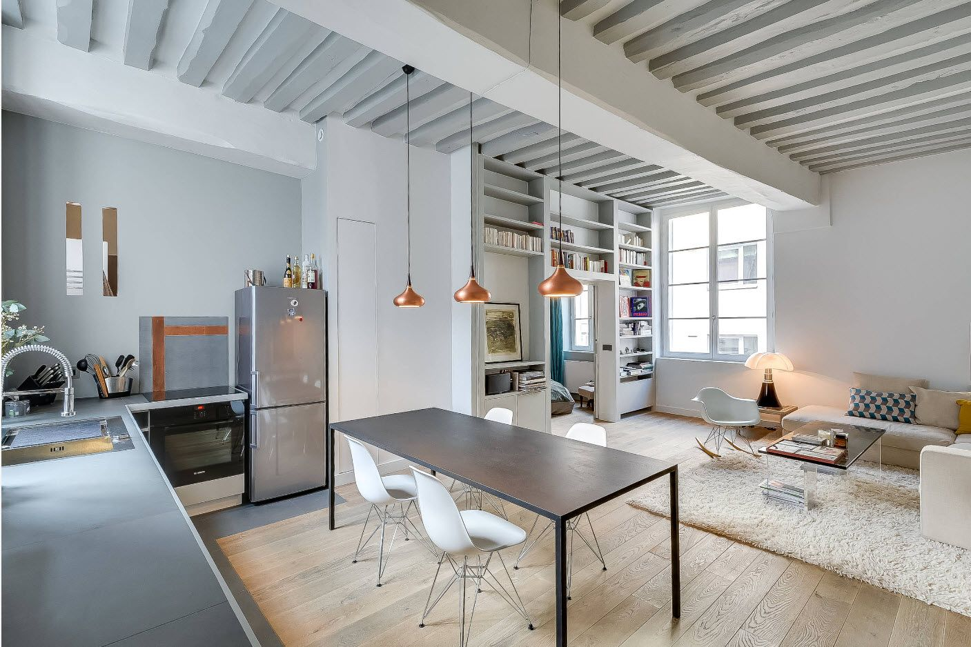 steel gray studio apartment decoration