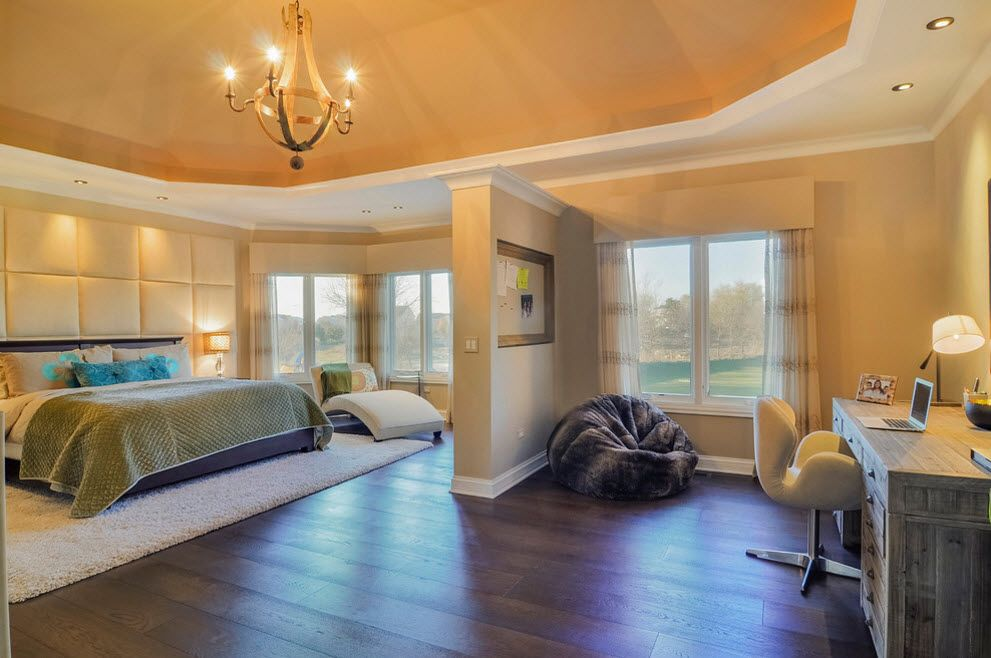 Royal yellow interior decoration in the classically designed zoned bedroom