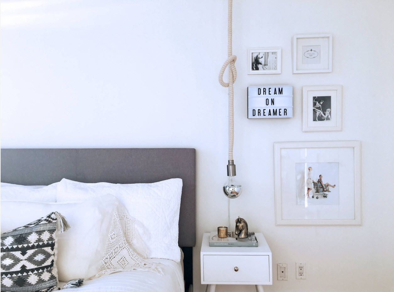 Modern Bedroom Interior Decoration & Design Ideas 2017. Nice rope lamp for modern room
