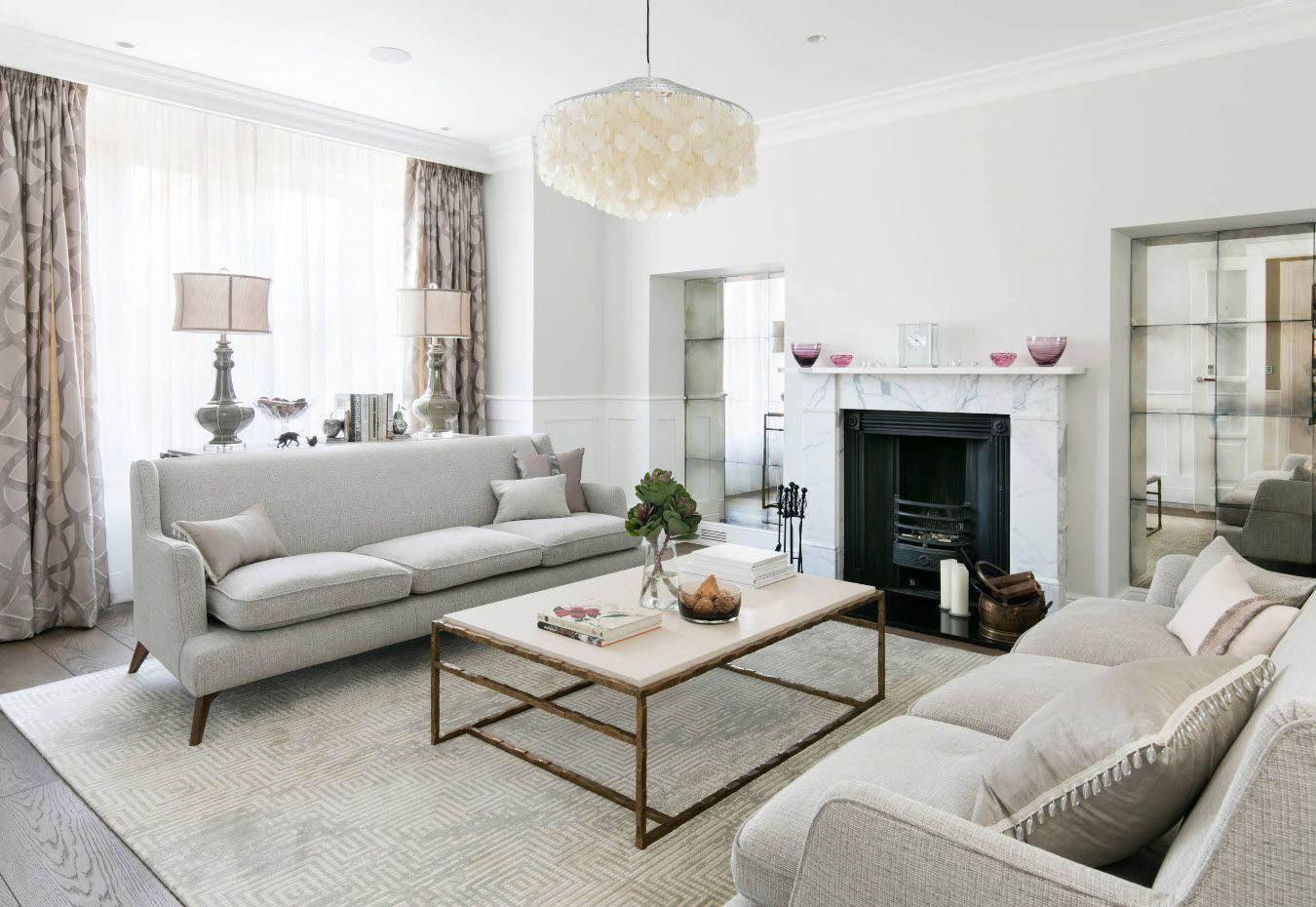 Gray room with mantelshelf and Contemporary style of decoration
