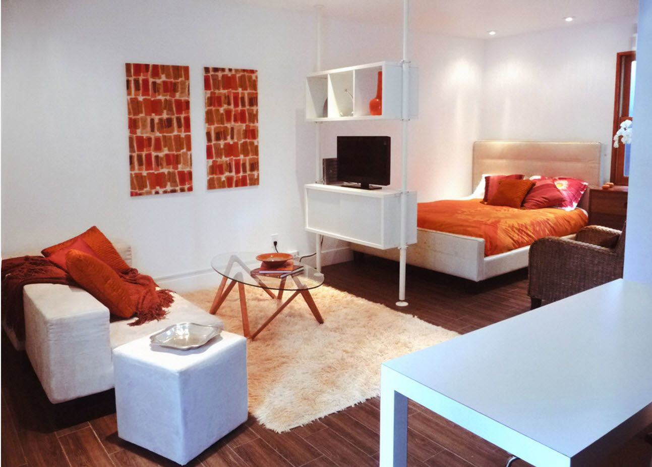 100+ Small Studio Apartment Design Ideas & Real-life Projects Photogallery. Well-done cachelor studio with bright orange accents