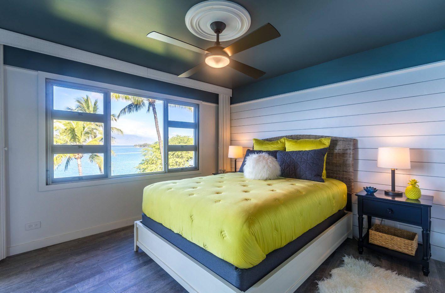 Sandwich platform bed in original Marine styled bedroom
