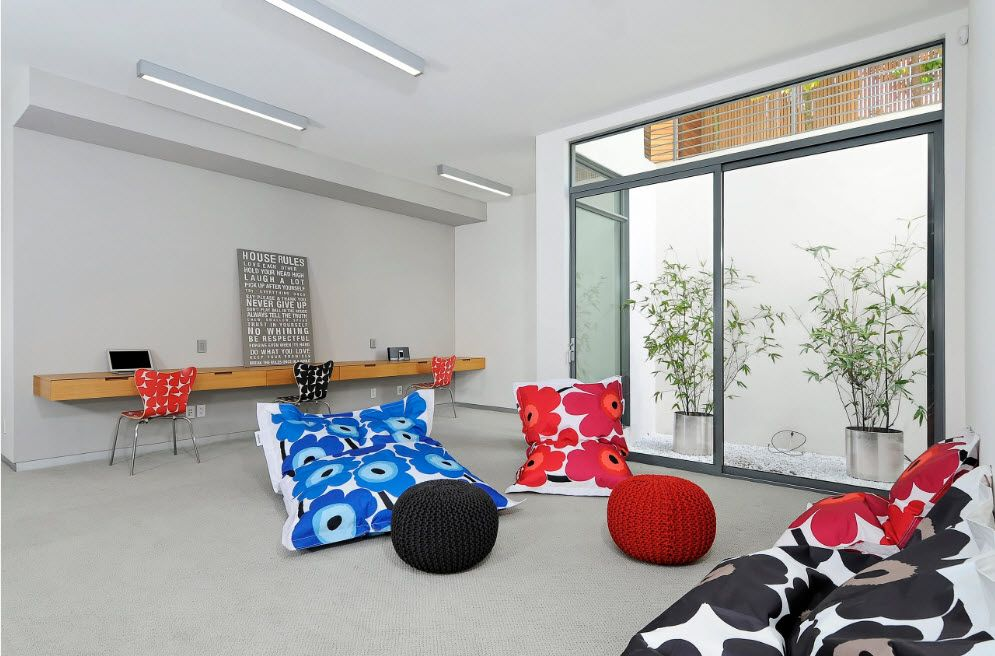 Hi-tech apartment interiro not disposed of bean bags as decoration