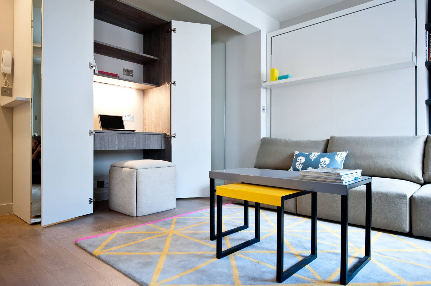 100+ Small Studio Apartment Design Ideas & Real-life Projects Photogallery. Yellow contrast of the chair