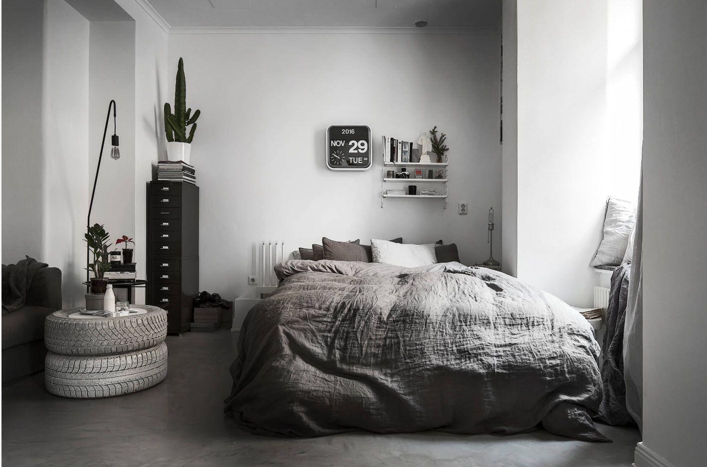 Modern Scandinavian interior in white setting of the modern bedroom