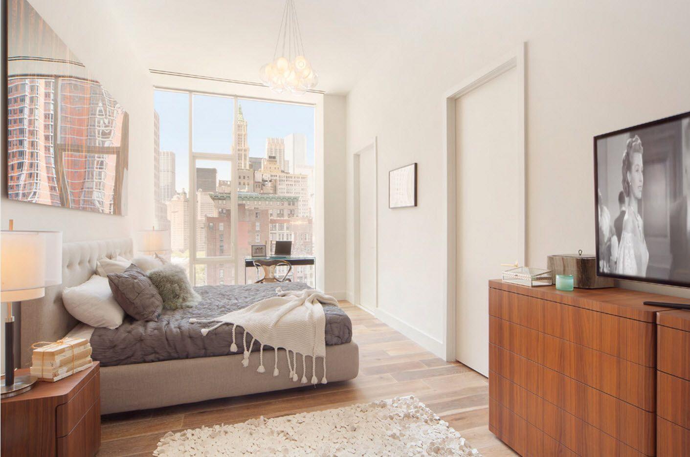Light gray room with wide panoramic windows