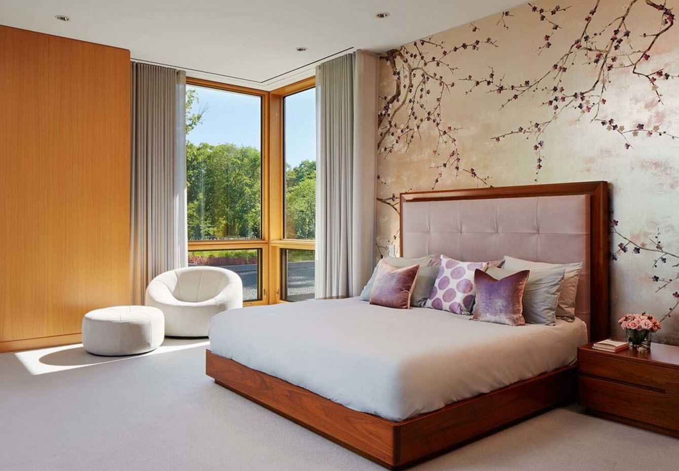 Spring theme of the headboard wallpaper