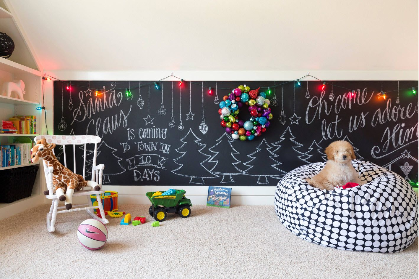 Black chalkboard and plenty of bright toys