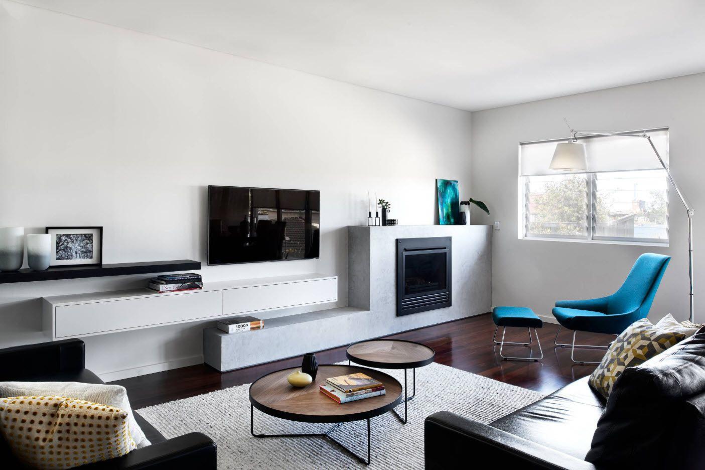 Nice hi-tech design of the modern sitting room interior 2017