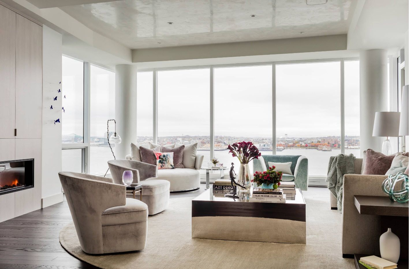 Panoramic windows all round the spacious living room