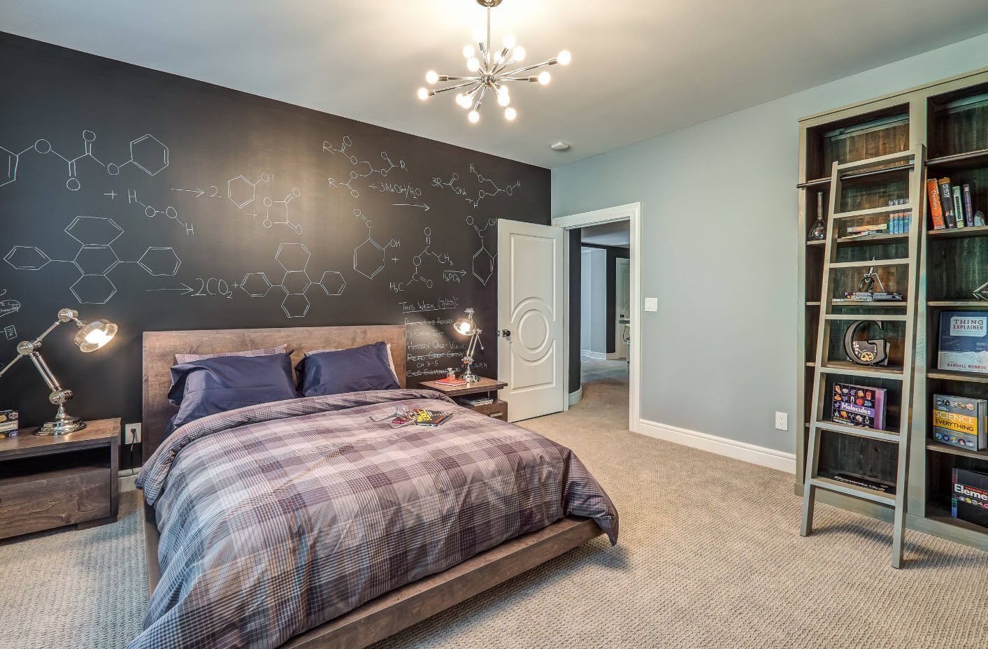 Gray accent wall in the room for senior pupil or high school student