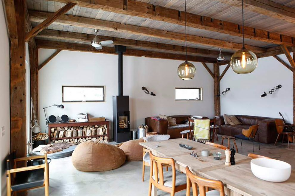 Rustic private cottage with logged open beams ceiling and ascetic furniture set