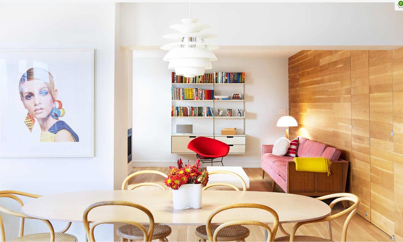 Apartment Interior Design Inspiration Ideas & Trends 2017. bright red upholstered chair as an accent of the dining room