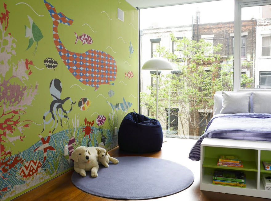 Photowallpaper of the whale and other animals in the kids' room