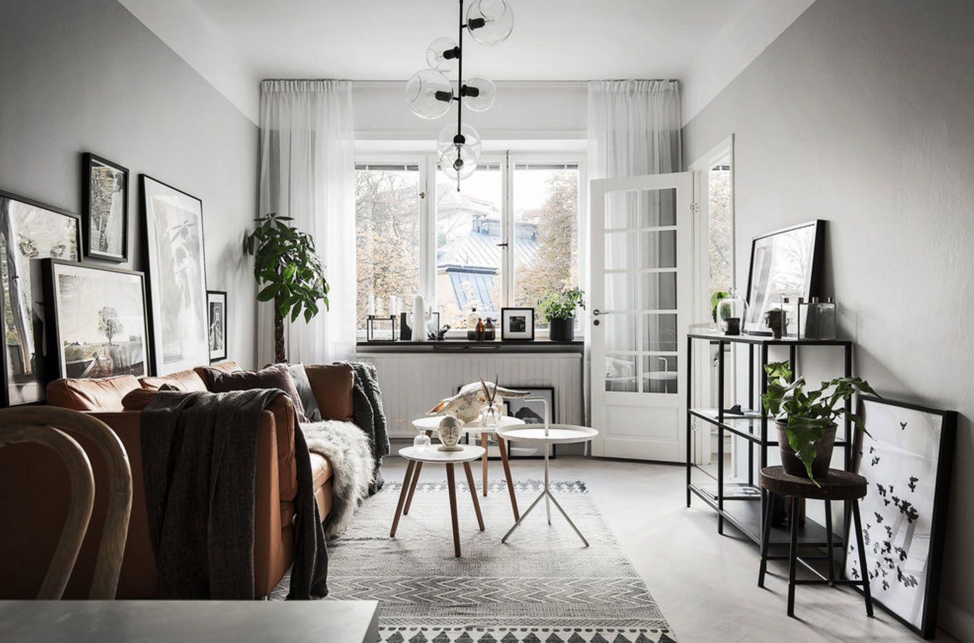 gray pastel palette to set off the natural tint of vegetation in the room