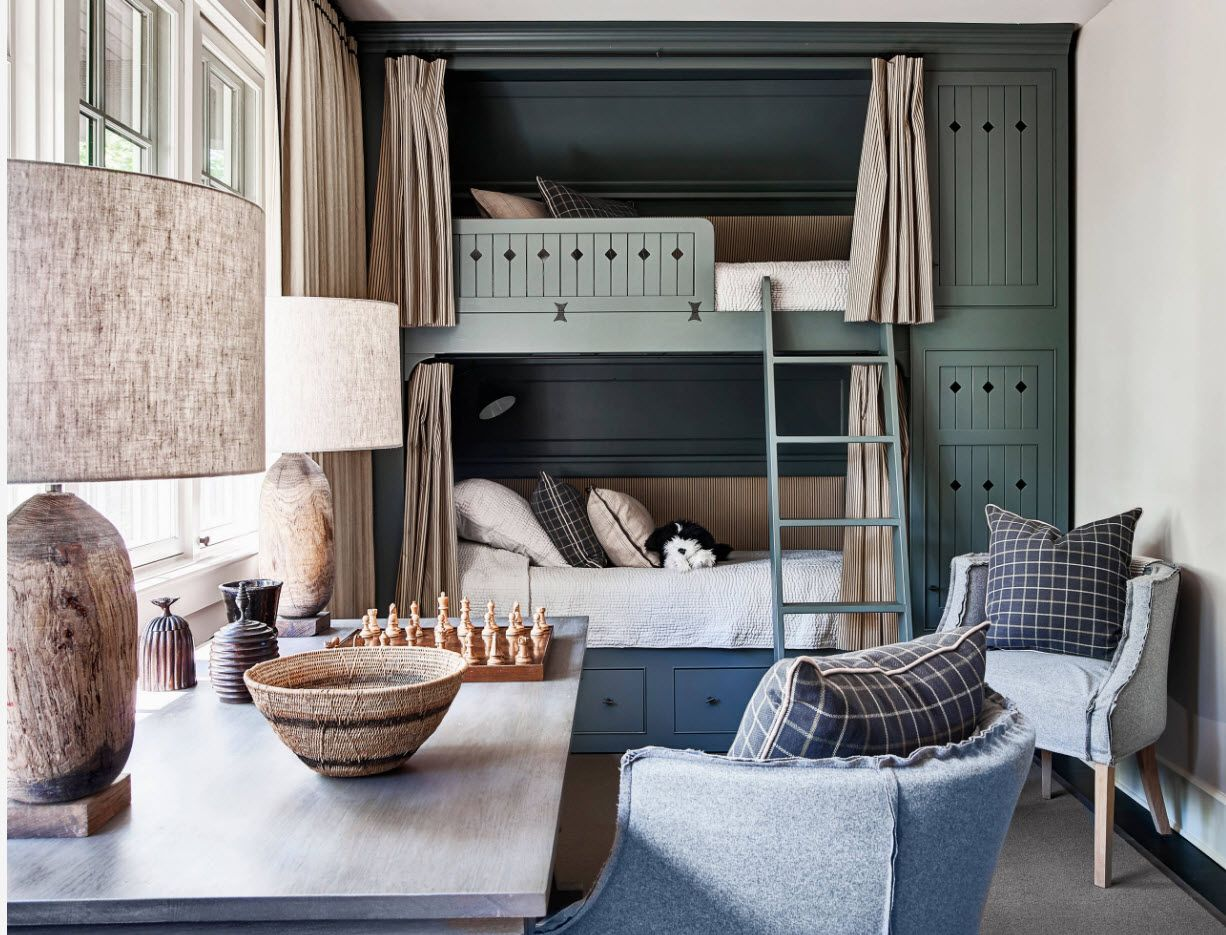 Contemporary style in the room with bunk bed and nice color palette