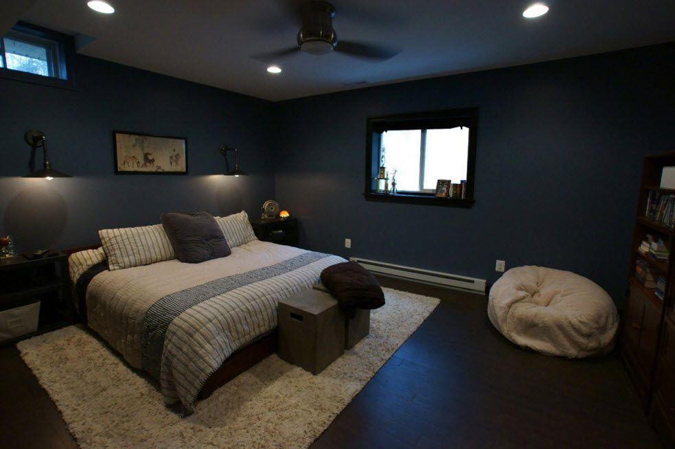 Dark noir entourage of the bedroom with fan