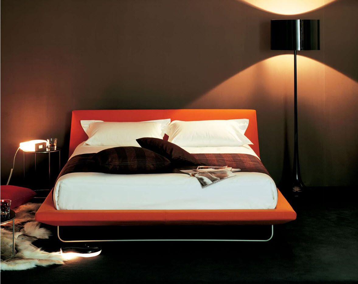 Orange platform for transforming bed with steel frame