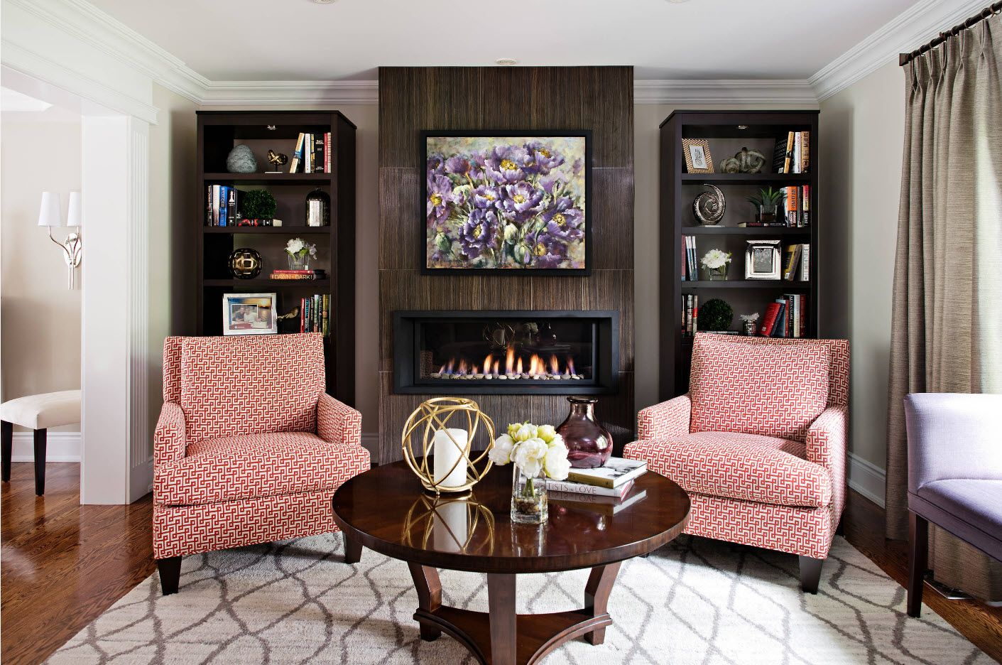 Dark color theme for contemporary sitting with fireplace