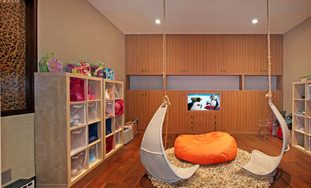 Wooden trim of the modern kids' room