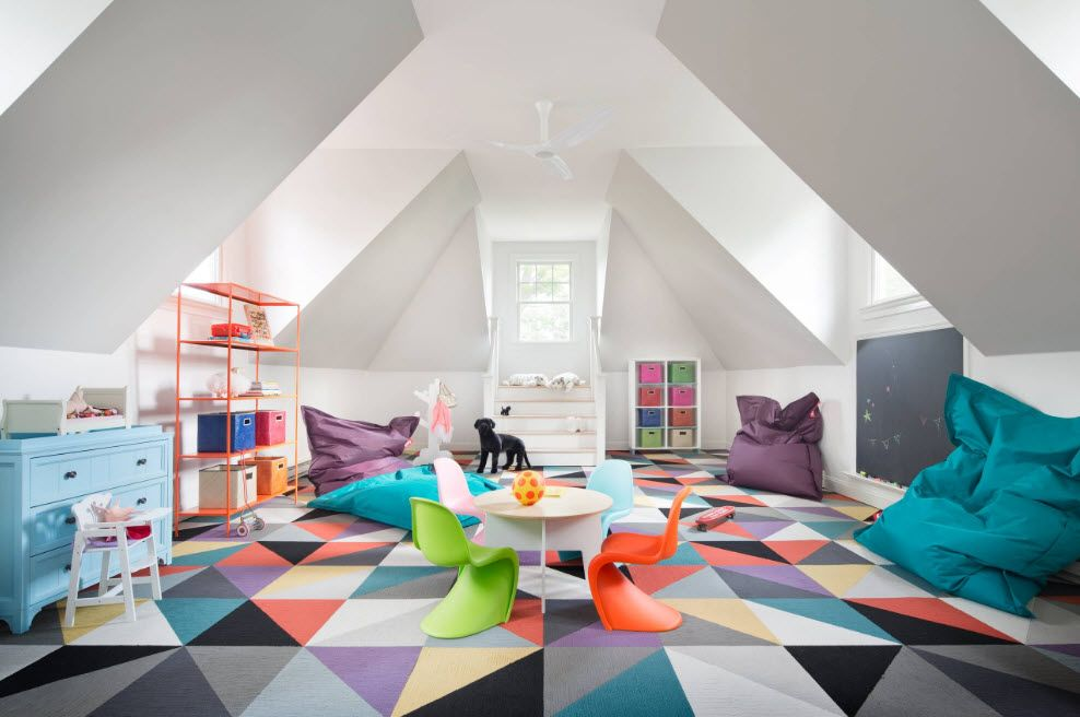Large colorful triangle design of the kids' room at the loft