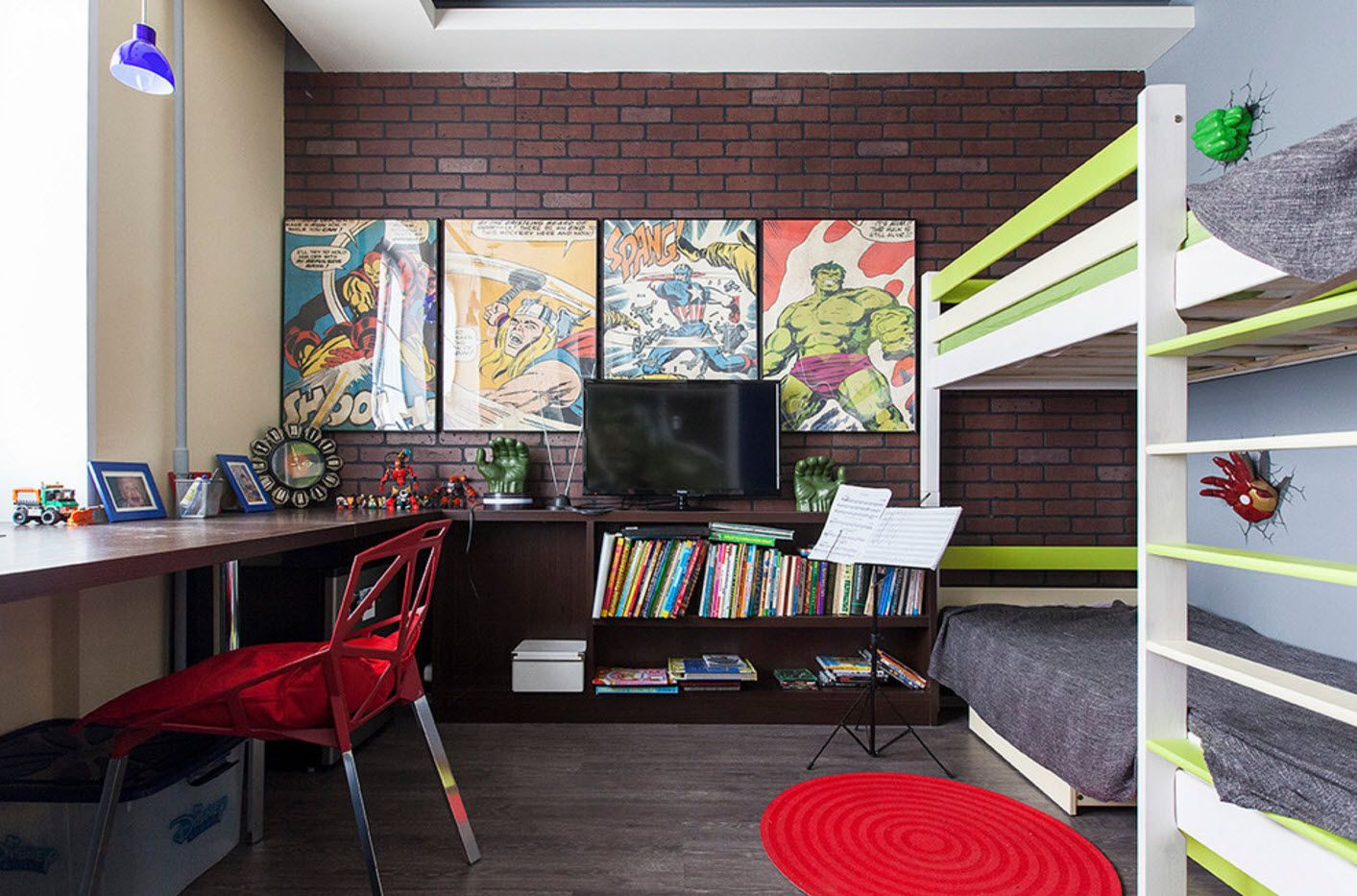 Dark palette for children's room looks arthouse