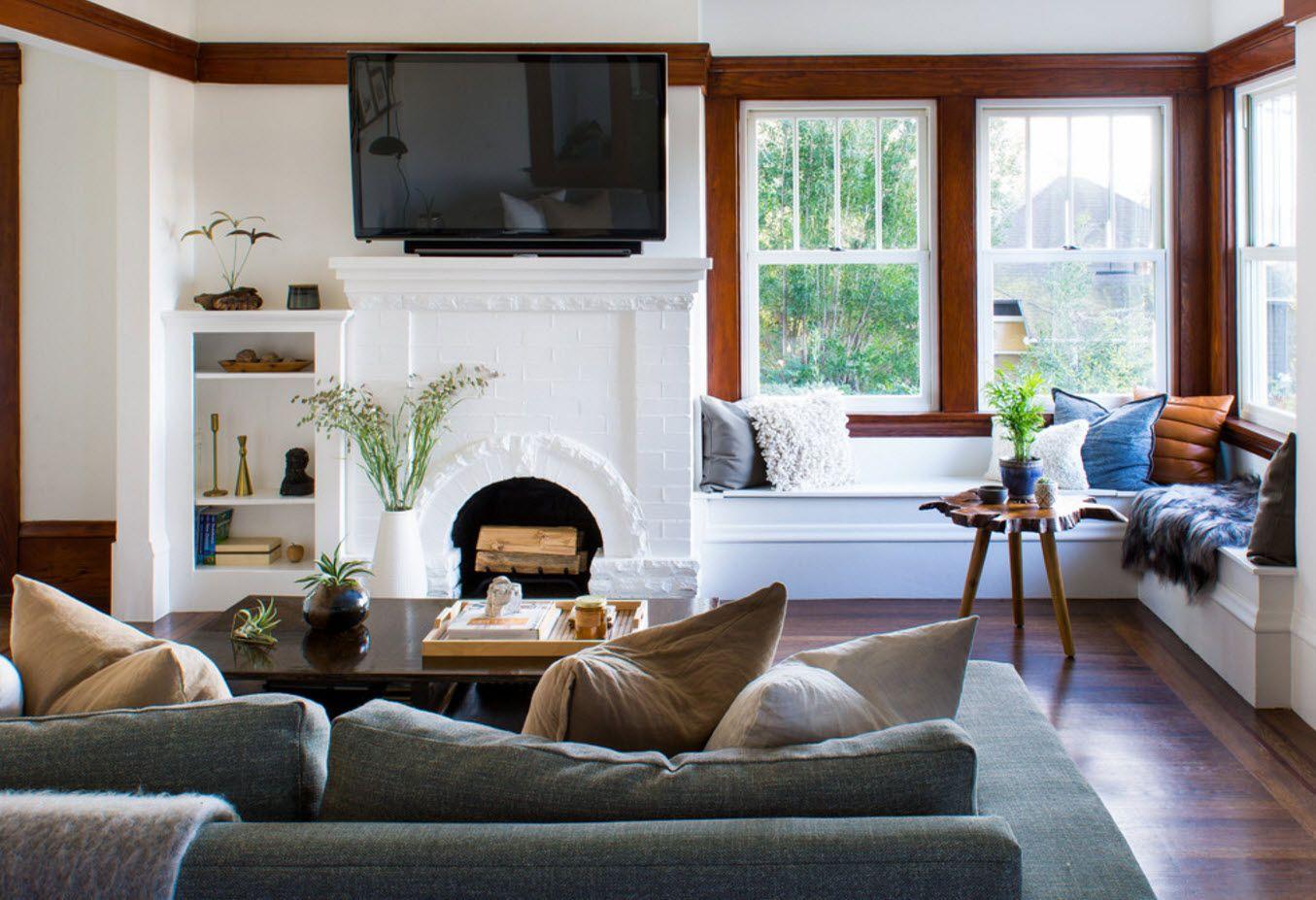 Light interior design with wooden frames