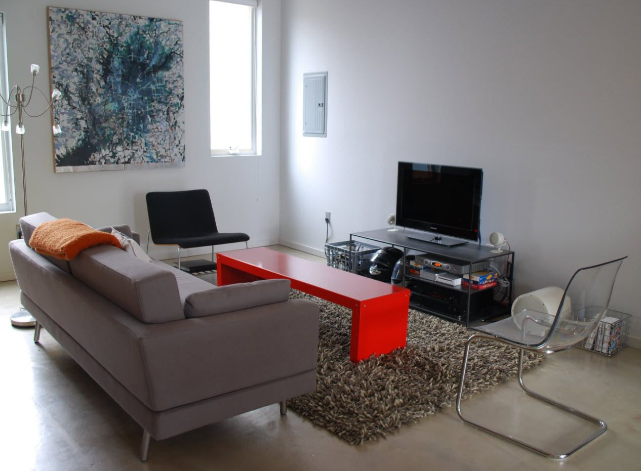 100+ Small Studio Apartment Design Ideas & Real-life Projects Photogallery. Red plastic coffee table