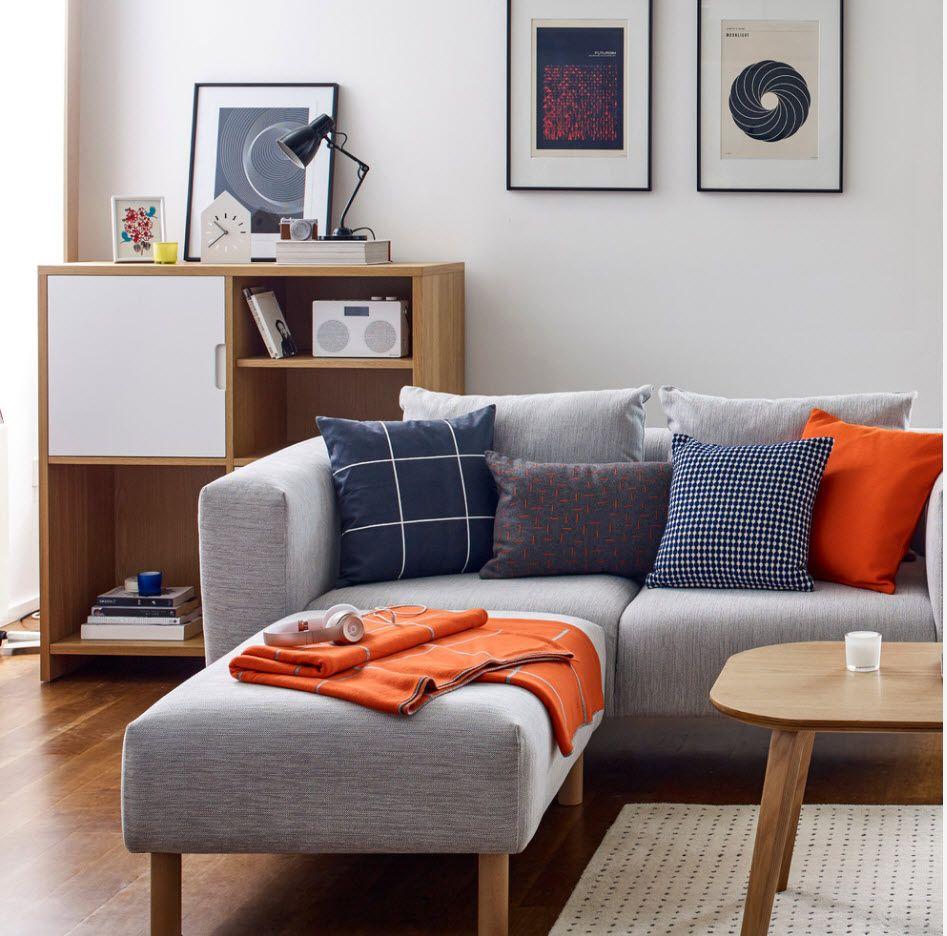 Angular gray sofa