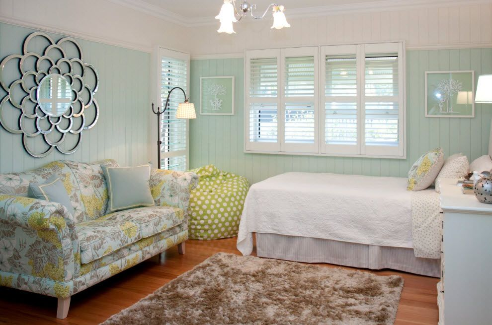 Turquoise nice appearance of classic bedroom