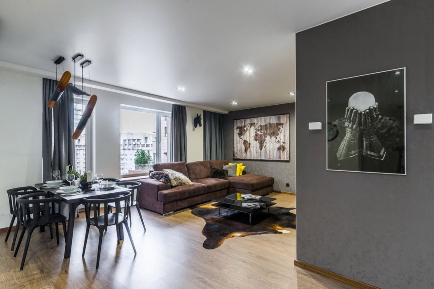 Gray interior with parquet and built-in ceiling lighting