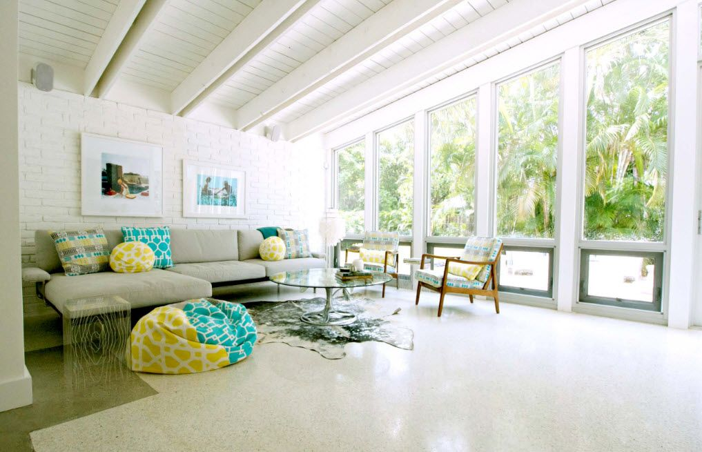 Bean Bag Chair Into the Interiors and Landscape Design of Modern Home with terrace