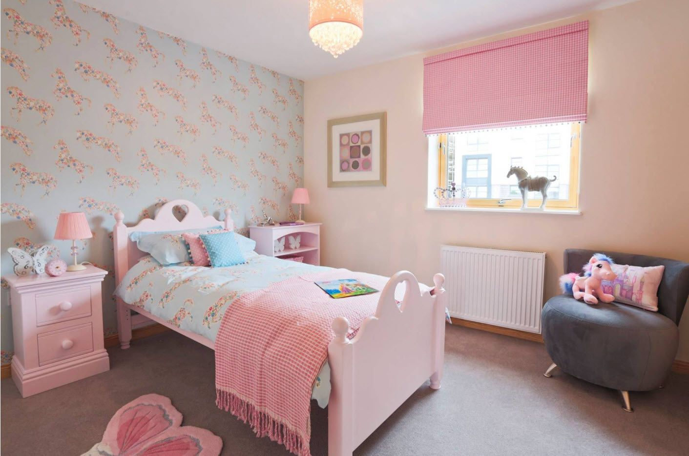 Pink and creamy palette for bright homey mood of the children's room