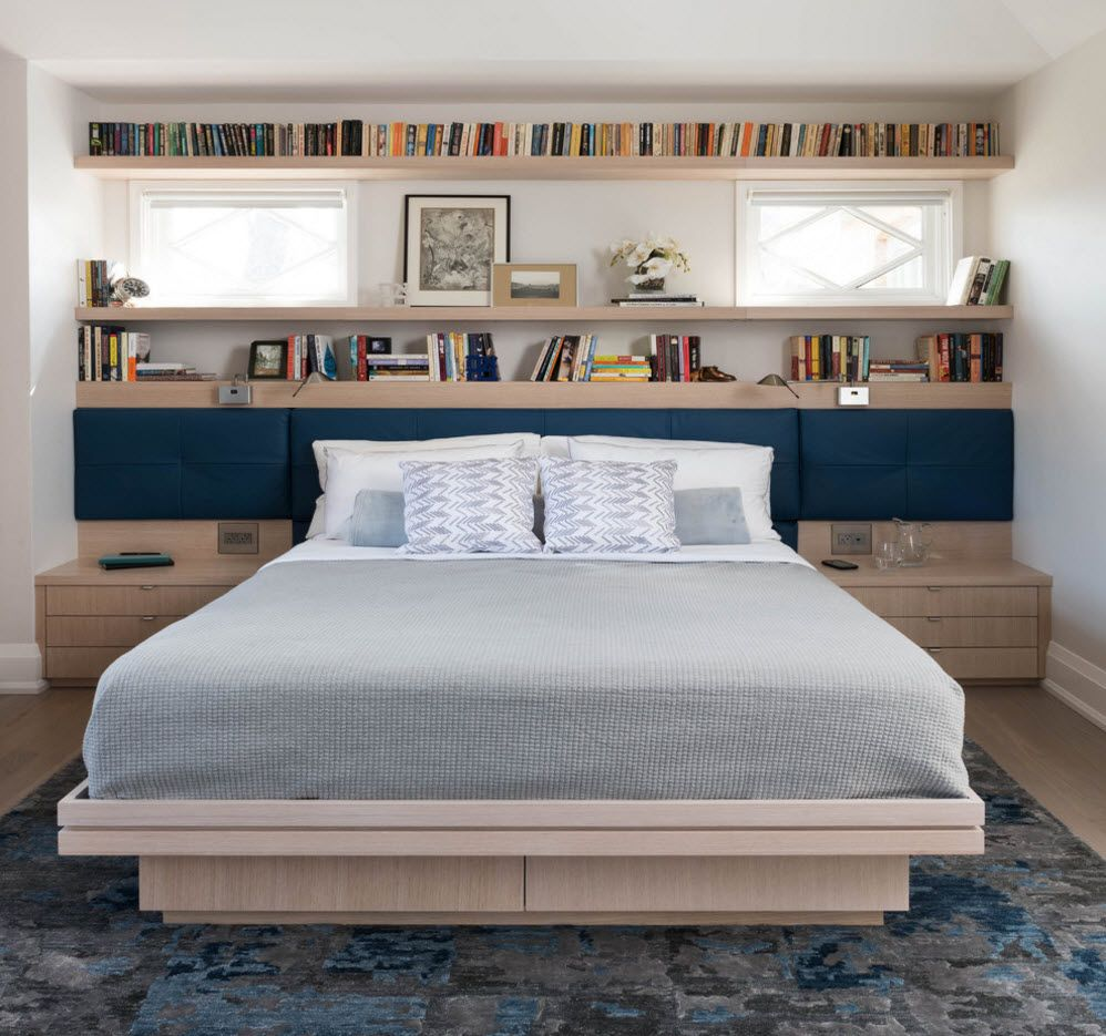 Platform bed and bookshelves