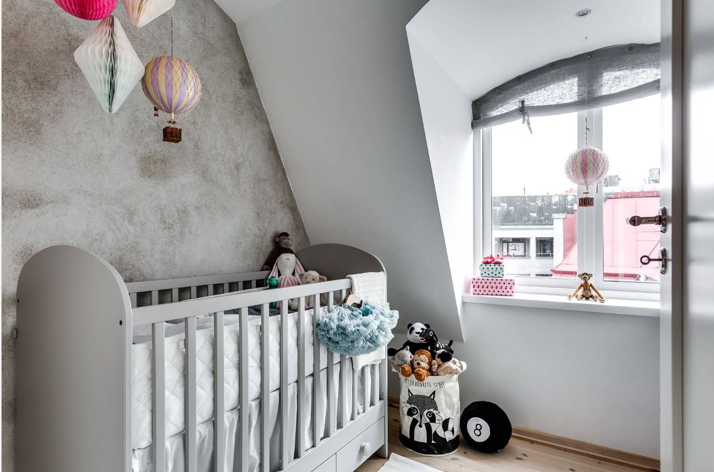 Loft space successfully decorated to become a nursery
