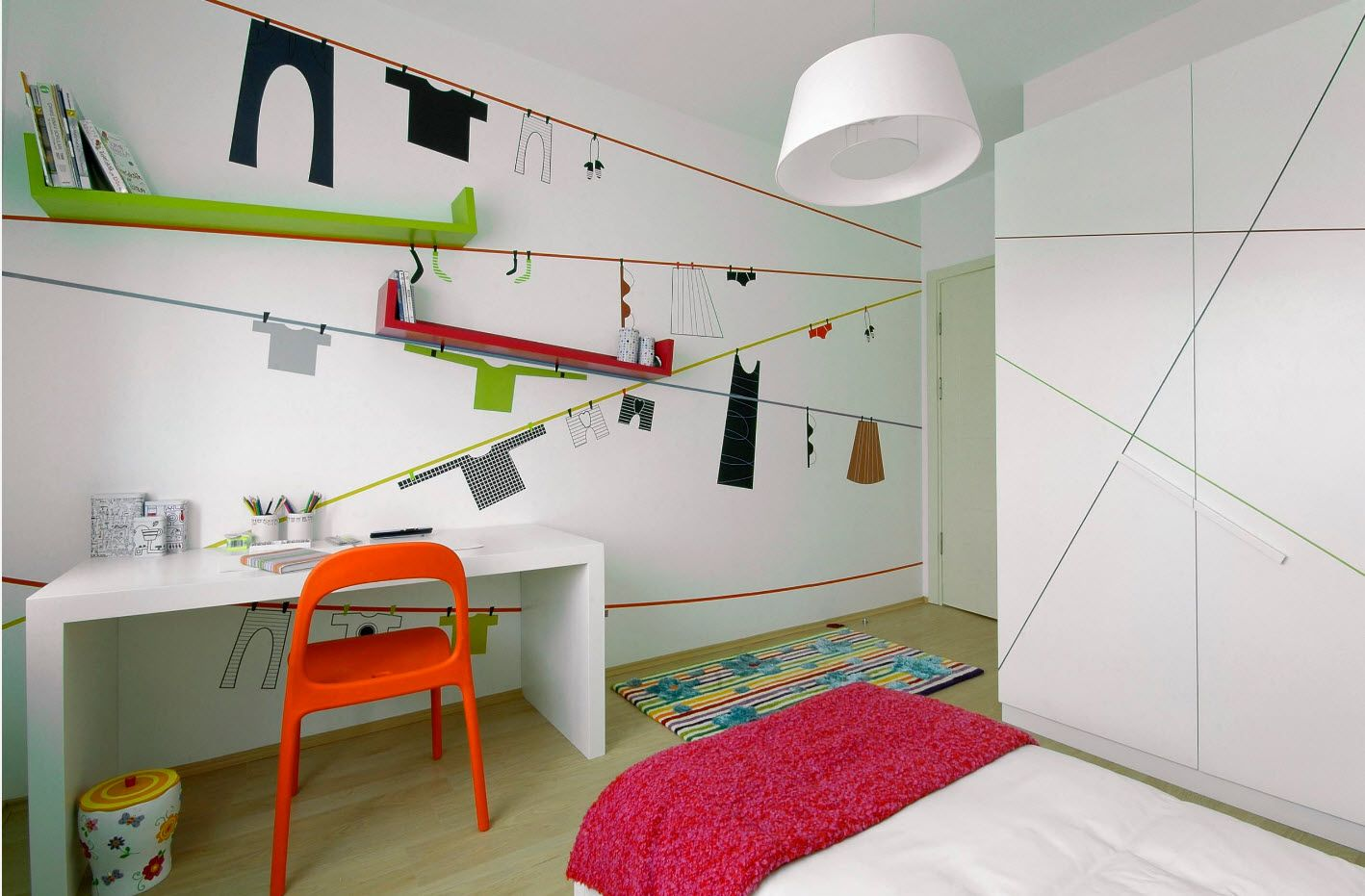 Bright furniture accents in the nice setting of the children's room