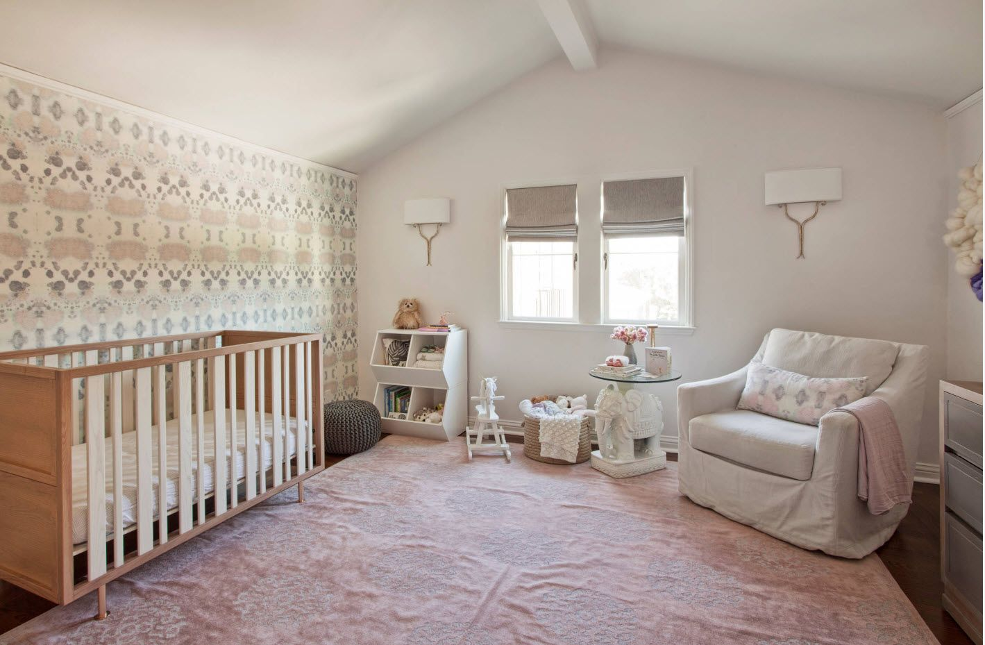 Loft atmosphere of the white pastel color palette of the homey child's room