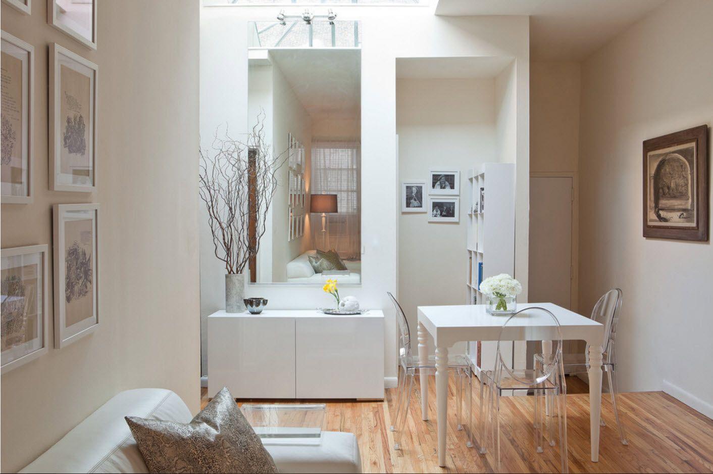 White cozy interior in the small studio 2017