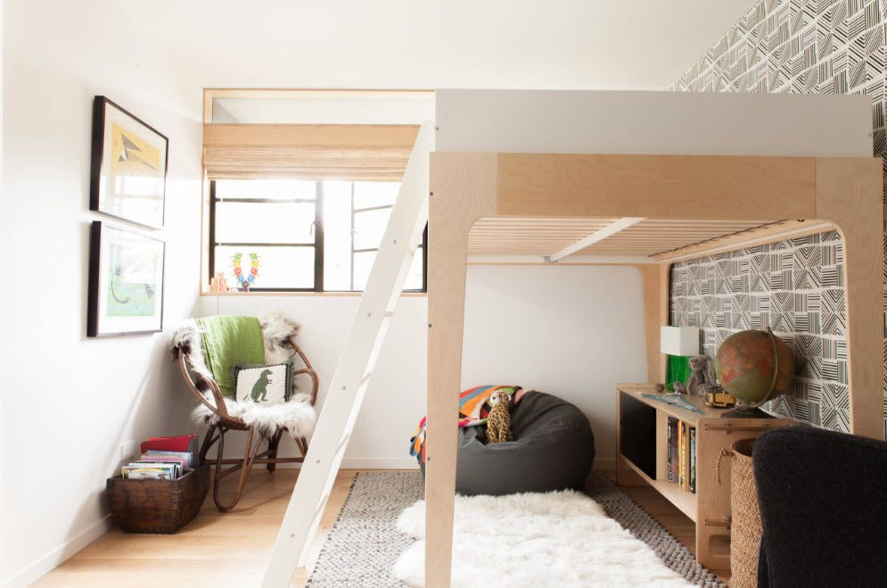 Absolutely spectacular wooden interior decoration with bunk bed in kids' room