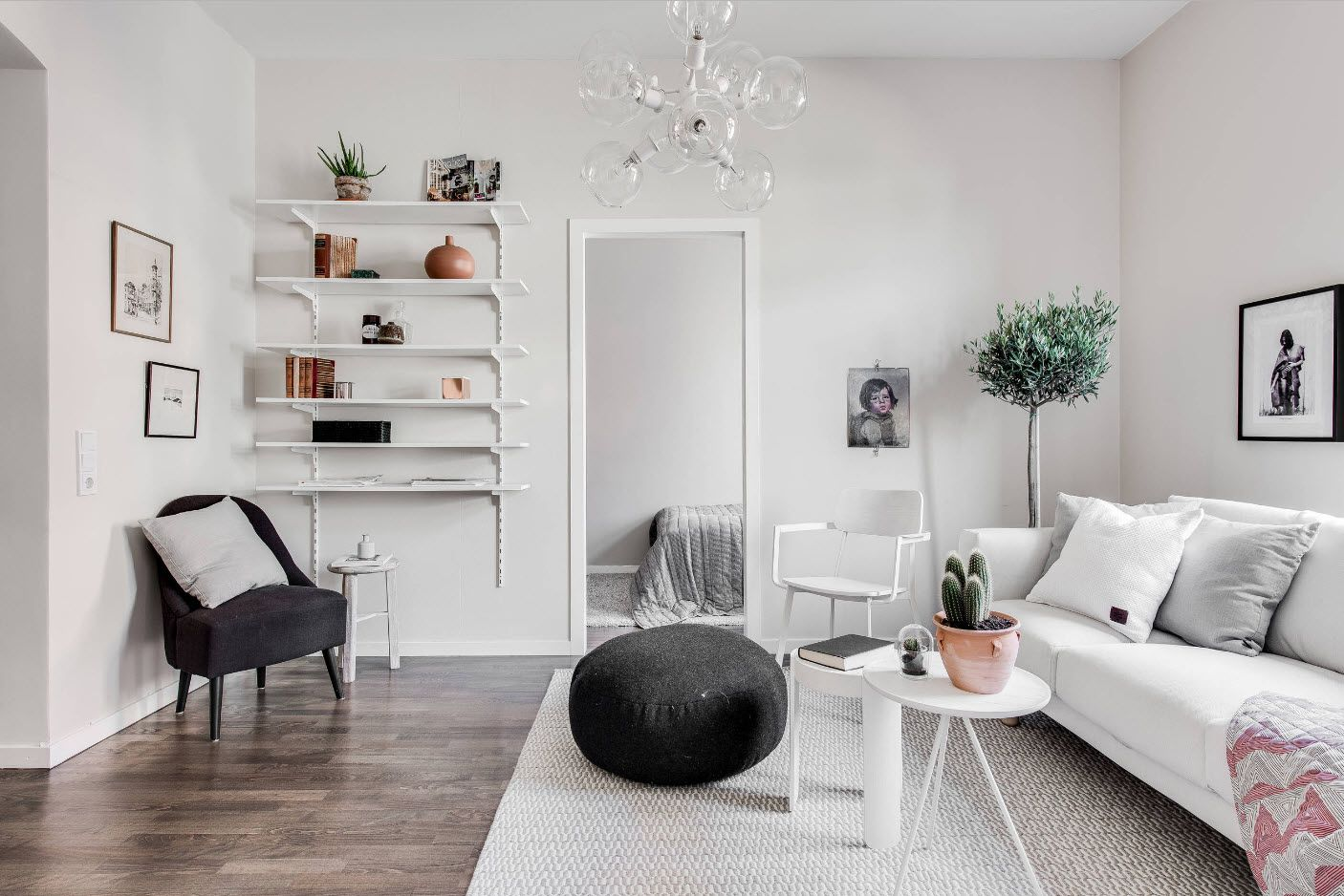 Absolutely gray decorated room with elements to animate the gloomy interior