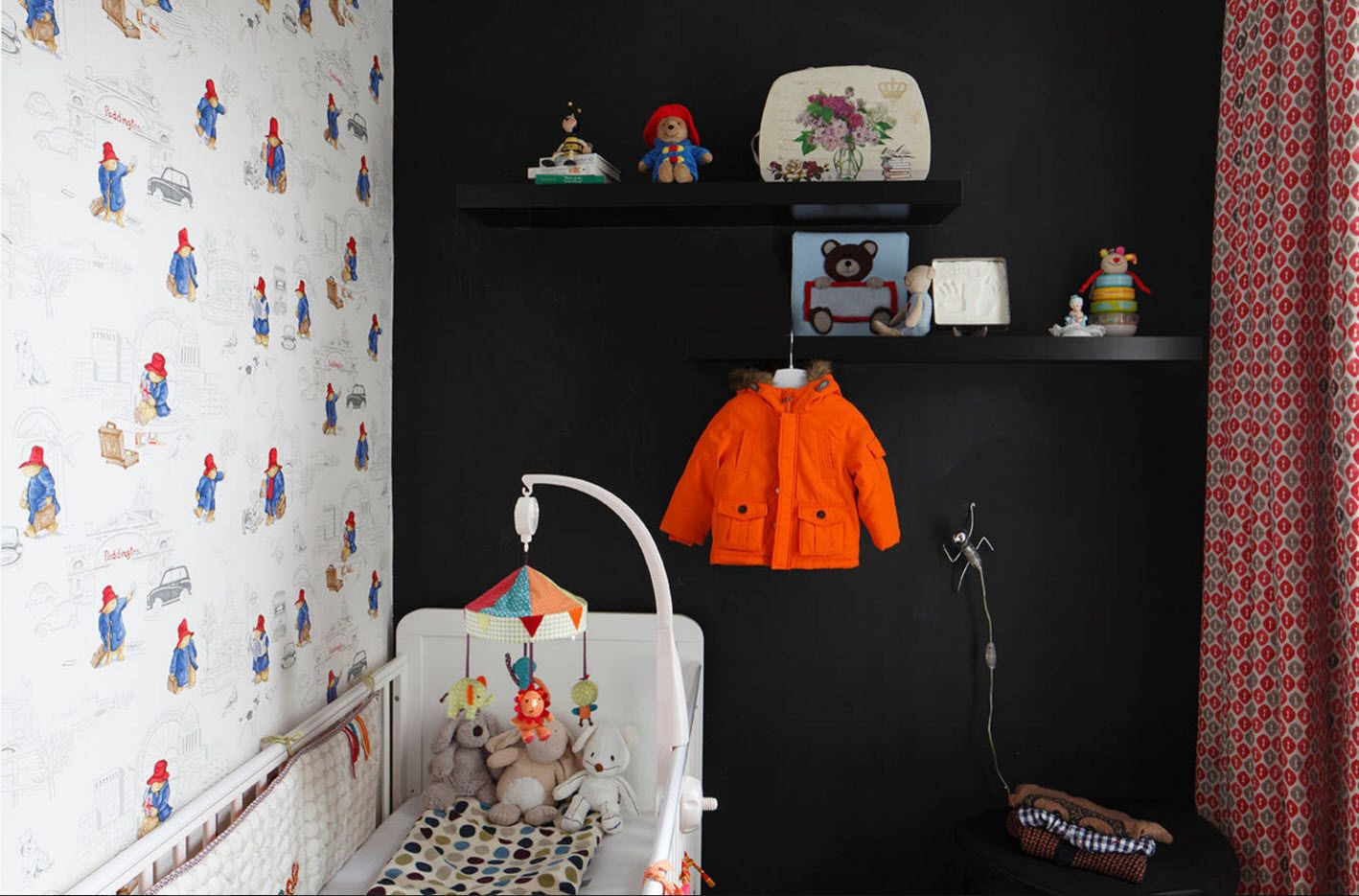 Black accent wall in the kids' room