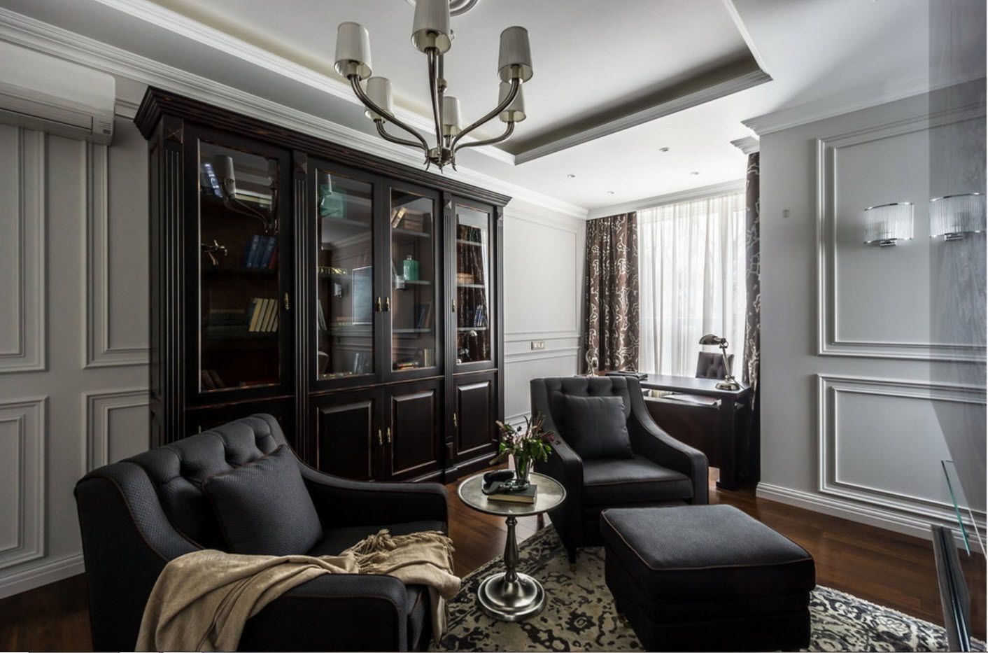 Black idyll in the classic interior of home office/living